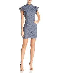 AQUA - Flutter-Sleeve Lace Sheath Dress - 100% Exclusive