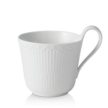 Royal Copenhagen - White Fluted Half Lace High Handle Mug
