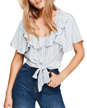 Free People Rosemary Striped Tie-Front Cropped Top