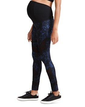 Ingrid & Isabel - Maternity Active Mesh-Inset Floral Leggings
