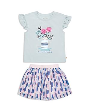 Kate Spade Girls' Mesh-Flower Top & Printed Skirt Set - Little Kid