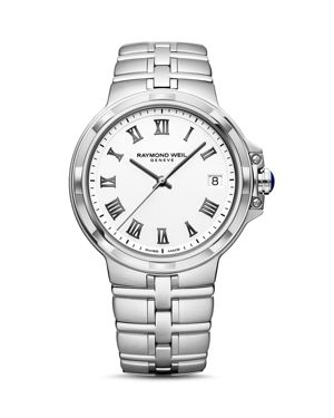 RAYMOND WEIL Parsifal White Dial Watch, 41Mm in White/Silver