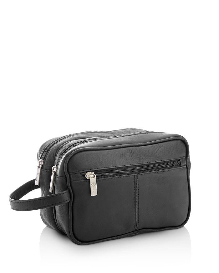 c4b0264530cb ROYCE New York - Colombian Vaquetta Leather Double Zip Toiletry Travel Bag