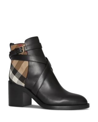 Burberry Modesens Leather House Check And In Boots Black Ankle a8raxqZw
