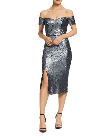 Dress the Population - Jen Sequined Sweetheart Midi Dress