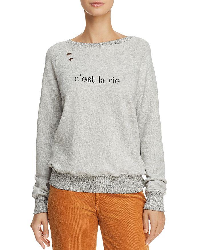 n:philanthropy - Belize Embroidered Distressed Sweatshirt