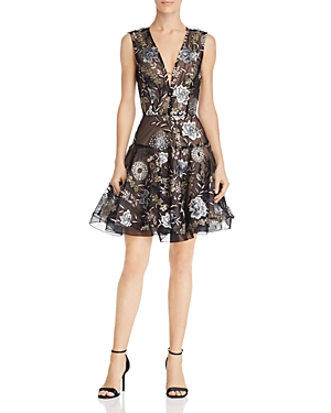 Bronx And Banco TIARA FLORAL EMBROIDERED FLARE DRESS