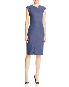BOSS - Dechesta Plaid Seamed Sheath Dress