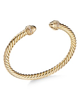 David Yurman - Cable Bracelet in 18K Gold with Gold Dome & Diamonds