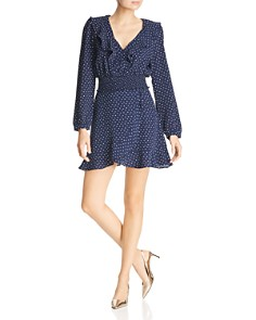 AQUA - Polka Dot Faux-Wrap Skirt - 100% Exclusive