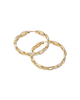 David Yurman - Stax Chain Link Hoop Earrings in 18K Yellow Gold with Diamonds