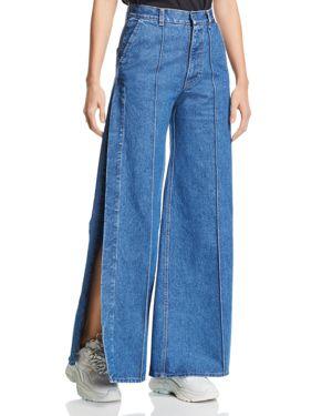 KSENIA SCHNAIDER Side-Slit Wide-Leg Jeans In Dark Blue