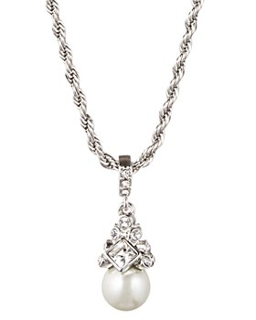 """Givenchy - Simulated Pearl Pendant Necklace, 16"""""""