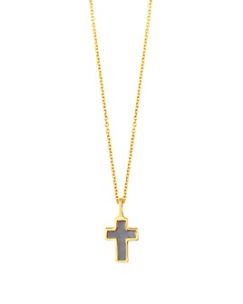 """TOUS - 18K Yellow Gold XXS Mother-Of-Pearl Cross Necklace, 17.7"""""""
