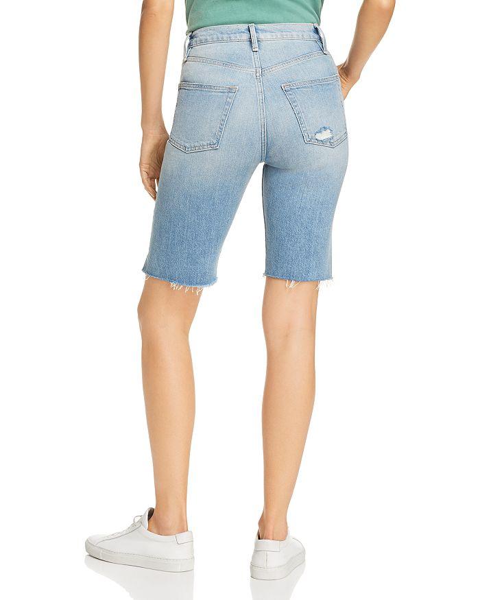 573b680dfa FRAME Le Vintage Raw-Edge Denim Bermuda Shorts in Medina ...