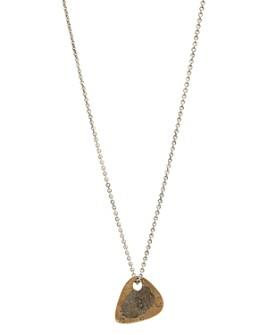 "John Varvatos Collection - Sterling Silver & Brass Artisan Metals Guitar Pick Necklace, 24"""
