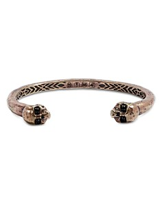 John Varvatos Collection - Brass Skull & Daggers Black Diamond Skull Cuff Bracelet