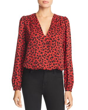 LUCY PARIS Leopard Print Bodysuit in Red/Black
