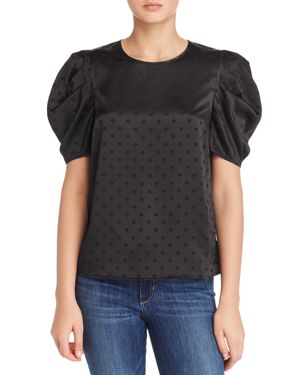LUCY PARIS Coco Puff-Sleeve Polka Dot Top in Black
