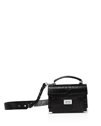 The Kooples - Emily Mini Croc-Embossed Leather Shoulder Bag