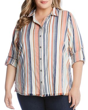 Karen Kane Plus Stripe Fringe Button-Down Tunic