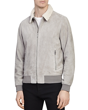 Reiss We River Suede Aviator Jacket with Faux Fur Collar