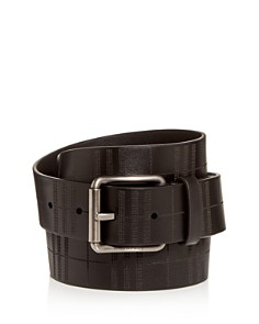 Burberry - Men's Perforated Check Leather Belt
