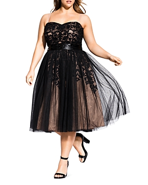City Chic Plus Tulle Overlay Belted Midi Dress