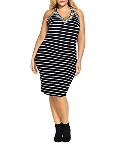 City Chic Plus - Stripe Racerback Tank Dress