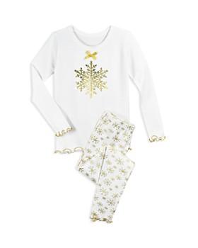 Sara's Prints - Girls' Metallic Snowflake-Print Pajama Shirt & Pants Set - Little Kid