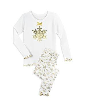 Saras Prints Girls Metallic SnowflakePrint Pajama Shirt  Pants Set  Little Kid