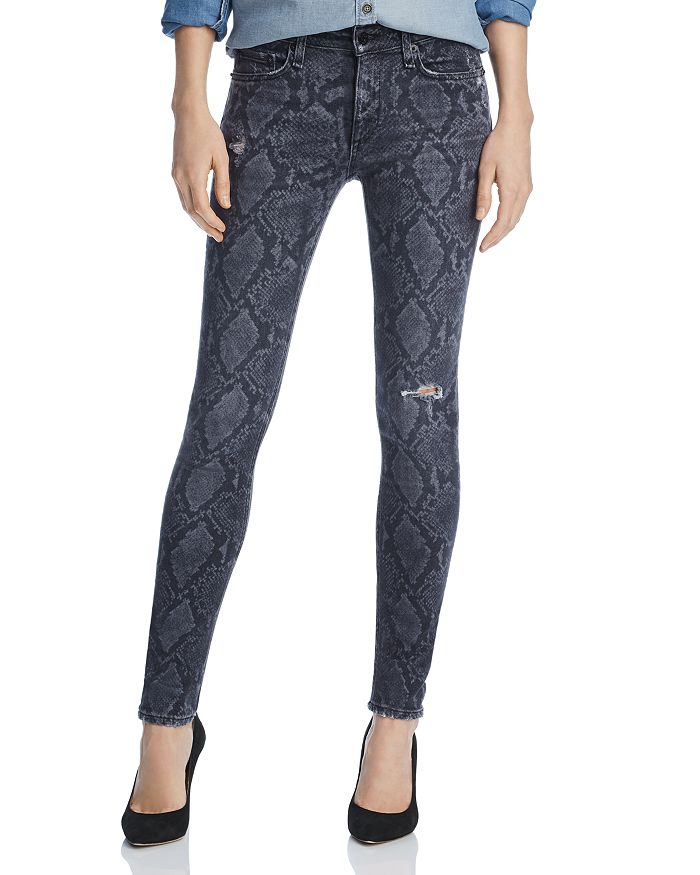 rag & bone/JEAN - Distressed Printed Skinny Jeans in Gray Snake