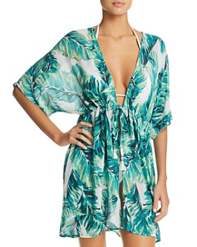 J. Valdi - Bermuda Tie-Front Kimono Swim Cover-Up