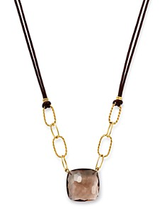 "Bloomingdale's - Cushion-Cut Smokey Quartz Leather Cord Necklace in 14K Yellow Gold, 18"" - 100% Exclusive"