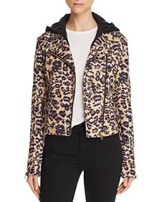 AQUA - Leopard Faux Suede Moto Jacket - 100% Exclusive