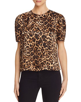 Lucy Paris - Coco Puff-Sleeve Leopard Print Top