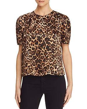 Lucy Paris Coco Puff-Sleeve Leopard Print Top