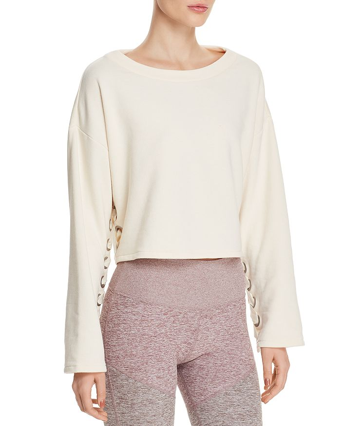 Alo Yoga - Cropped Lace-Up Sweatshirt