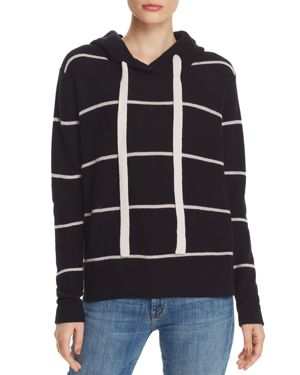 AQUA Cashmere Stripe Hoodie - 100% Exclusive in Black/Snow