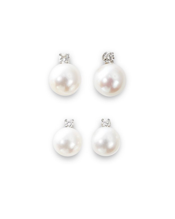 Bloomingdale's - Cultured Akoya Pearl Stud Earrings with Diamonds in 14K White Gold, 7-8mm - 100% Exclusive