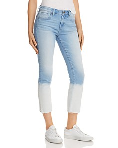 AQUA - Bleached-Hem Cropped Straight-Leg Jeans in Light Wash - 100% Exclusive
