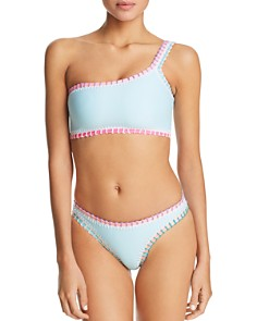 Platinum inspired by Solange Ferrarini - Platinum Stitched One-Shoulder Bikini Top & Stitched Scoop Bikini Bottom - 100% Exclusive