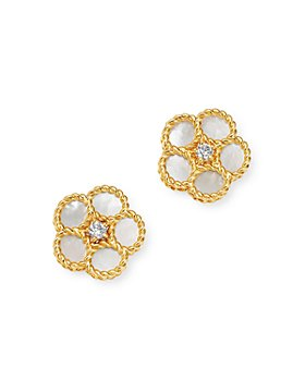 Roberto Coin - 18K Yellow Gold Daisy Mother-of-Pearl & Diamond Stud Earrings - 100% Exclusive