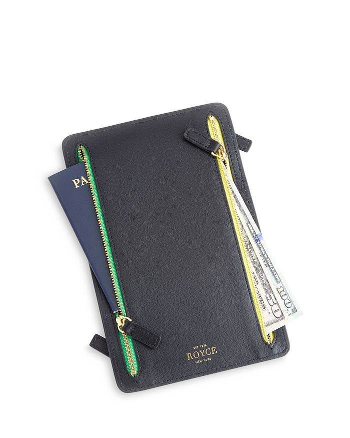 ROYCE New York - Leather RFID-Blocking Four Zip Organizer Travel Case
