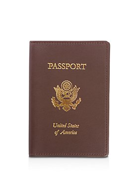 ROYCE New York - Leather RFID-Blocking Gold-Accented U.S. Passport Case