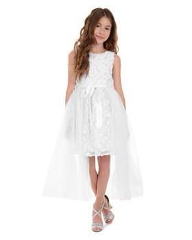 Badgley Mischka - Girls' Layered-Look Lace & Tulle Bow Dress - Little Kid