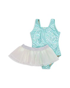 Shade Critters - Girls' Metallic Mermaid One-Piece Swimsuit & Swim Skirt Set - Little Kid