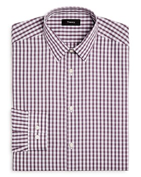 Theory - Blurred-Grid Slim Fit Dress Shirt