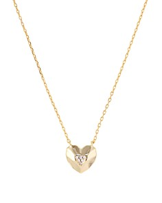 """AQUA - Faceted Heart Pendant Necklace in 14K Gold-Plated Sterling Silver, 16"""" - 100% Exclusive"""