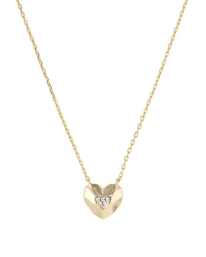 Aqua FACETED HEART PENDANT NECKLACE IN 14K GOLD-PLATED STERLING SILVER, 16 - 100% EXCLUSIVE